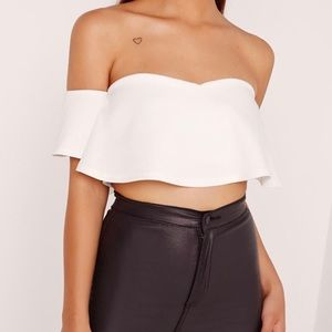 Missguided cropped white Bardot top size 8 NWT